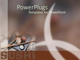 PowerPlugs: PowerPoint template with japanese food such rolls and sashimi on a plate blurry abstract brown background