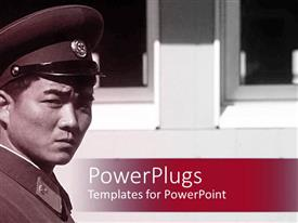 PowerPlugs: PowerPoint template with a japanese military person with windows in the background