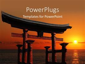 PowerPlugs: PowerPoint template with japanese Temple Gate to Miyajima Shrine looking out over the ocean against a blazing red sunset