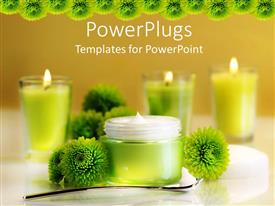 PowerPoint template displaying jar of moisturizing face cream with green flowers and lit votive candles on brown background