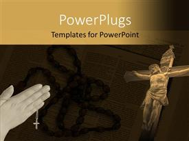 PowerPoint template displaying jesus being crucified with a bible in background