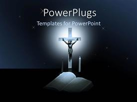PowerPoint template displaying jesus being crucified with a globe and candles around