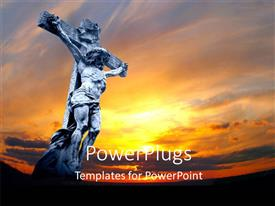 PowerPlugs: PowerPoint template with jesus being crucified with sunset in background