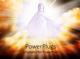 PowerPlugs: PowerPoint template with jesus in the clouds with a lot of light