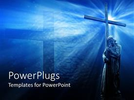 PowerPlugs: PowerPoint template with jesus with cross, blue background, religious