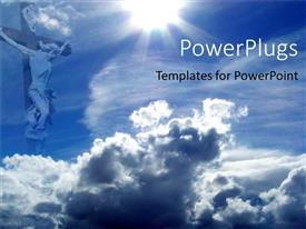 PowerPlugs: PowerPoint template with jesus on cross with blue sky and clouds, Christianity, religion, church, faith