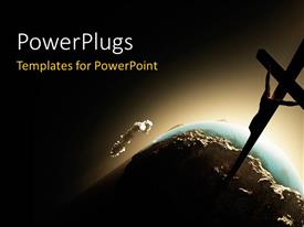 PowerPlugs: PowerPoint template with a cross in the space with Earth in background