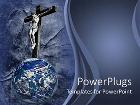 PowerPoint template displaying the Jesus crucifixion on top of the world