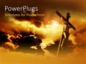 PowerPlugs: PowerPoint template with jesus on the holy cross with clouds in the background