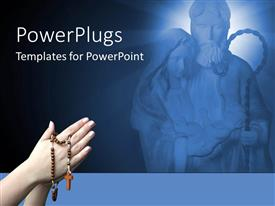 PowerPoint template displaying jesus and Mary in the background with a person praying