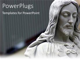 PowerPlugs: PowerPoint template with jesus statue with shining red heart