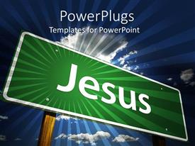 PowerPlugs: PowerPoint template with jesus street sign on blue sky background