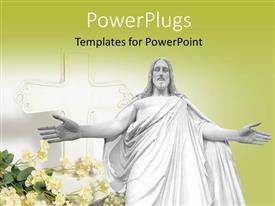PowerPlugs: PowerPoint template with a Jesus with a yellowish background and place for text