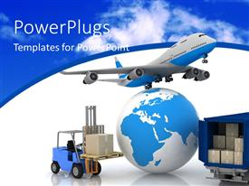 PowerPlugs: PowerPoint template with jet flying over a globe with shipping container and boxes