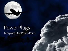 PowerPoint template displaying jet plane flying in front of the moon