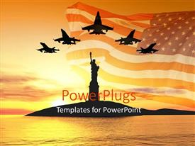 PowerPoint template displaying jets fly over the Statue of Liberty at sunrise, with American flag