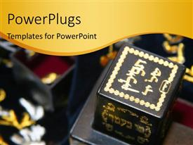 PowerPlugs: PowerPoint template with jewish religion depiction with symbols in temple
