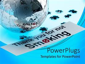 PowerPoint template displaying jigsaw globe with loose pieces and a no smoking sign