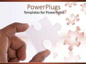 PowerPlugs: PowerPoint template with jigsaw puzzle with hand holding jigsaw piece
