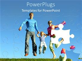 PowerPoint template displaying jigsaw puzzle of happy family jumping with one missing piece
