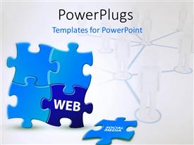 PowerPlugs: PowerPoint template with jigsaw puzzle with men standing in linked circles in background