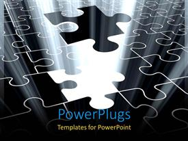PowerPlugs: PowerPoint template with jigsaw puzzle piece falling with light glow from missing spot