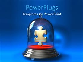PowerPlugs: PowerPoint template with jigsaw puzzle piece in precision container over blue background