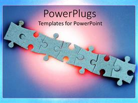 PowerPoint template displaying jigsaw puzzle pieces arranged in straight line over blue background