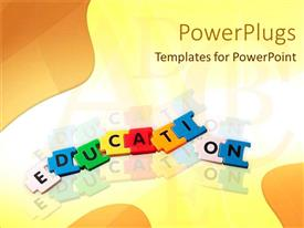 PowerPlugs: PowerPoint template with jigsaw puzzle pieces forming word 'education' on colorful background