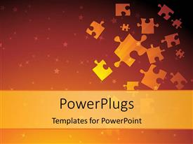 PowerPlugs: PowerPoint template with jigsaw puzzle pieces with sparkling stars on gradient background