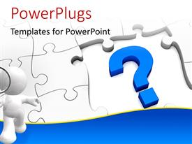 PowerPlugs: PowerPoint template with jigsaw puzzle with a question mark and missing pieces