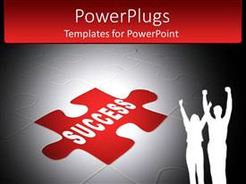 PowerPoint template displaying jigsaw puzzle with success piece in center with couple celebrating