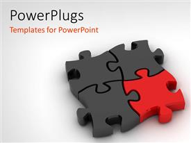 PowerPlugs: PowerPoint template with jigsaw puzzle on white background with distinct red piece