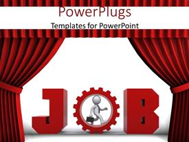 PowerPlugs: PowerPoint template with job concept with a Businessman walking inside a cogwheel