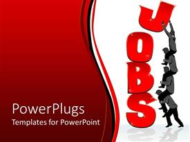 PowerPlugs: PowerPoint template with job creation metaphor with team of business people building word JOBS  out of red letters, human resources, HR