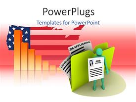 PowerPoint template displaying job searching 3D man holding job application with charts over American flag