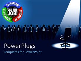 PowerPoint template displaying a job walk inn with empty chair and group of aspirants