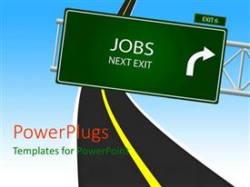 PowerPoint template displaying jobs Next Exit road sign over narrow two lane highway