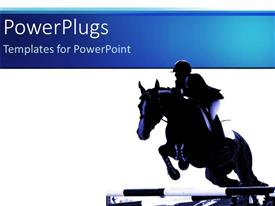 PowerPlugs: PowerPoint template with jockey riding jumping horse, white background