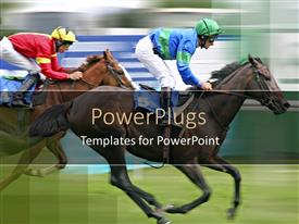 PowerPoint template displaying jockeys on racehorses, racing, competition, equestrian