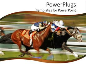 PowerPoint template displaying jockeys racing horses with motion blur