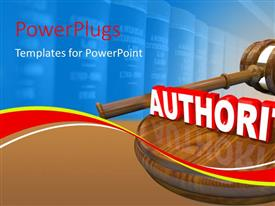 PowerPlugs: PowerPoint template with authority depiction with hammer, gavel and law books in background