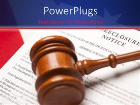 PowerPlugs: PowerPoint template with a judge hammer on a paper with texts that spell out the words 'foreclosure notice'