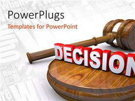 PowerPlugs: PowerPoint template with a gavel and the symbol of decision