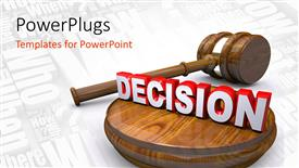 PowerPoint template displaying a gavel and the symbol of decision