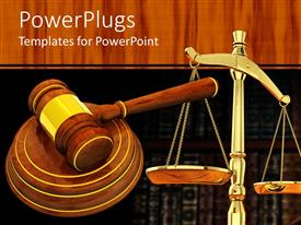 PowerPlugs: PowerPoint template with a judges wooden gravel and a justice balance scale