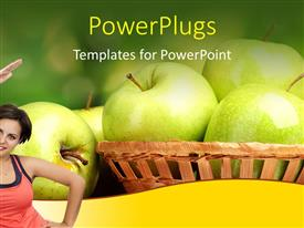 PowerPlugs: PowerPoint template with a smiling lady posing with some apples behind her