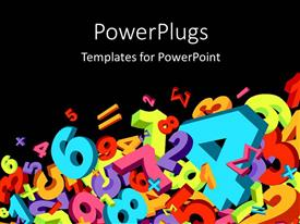 PowerPoint template displaying jumble of numbers and math signs in various colors on black background