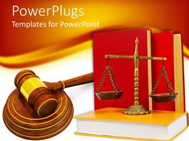 PowerPlugs: PowerPoint template with justice scale on a yellow book with two red books behind