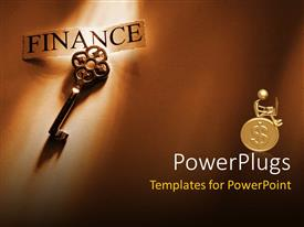 PowerPoint template displaying a key along with a figure sitting on a gold coin